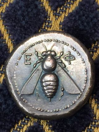 Bee Stag Coin Ionia 340 Bc.  Tetradrachm Ancient Greek Roman Rome Maybe Silver photo