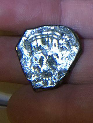 1600 ' S,  1 Silver Reale,  Spanish Shipwreck Cob Coin,  Pirate Silver, photo