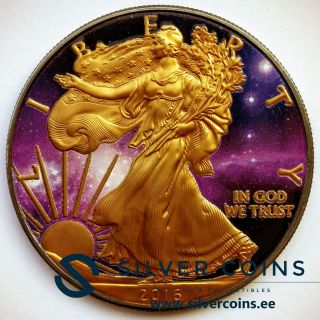 Silver American Eagle Coin Ruthenium Plated,  Colorized And Gold Gilded Universe photo