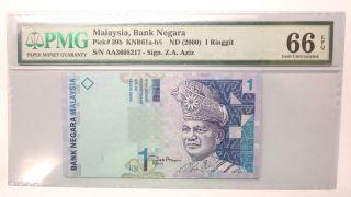 Malaysia $1 One Dollar Satu Ringgit Banknote 2000,  First Prefix ' Aa ',  Pmg 66 Epq photo
