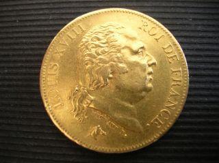 France.  Louis Xviii.  1818 W.  40 Francs. photo