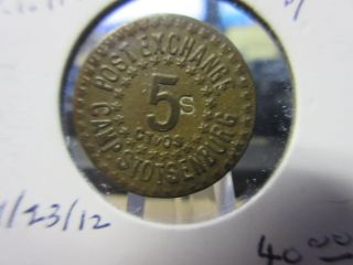 Basso - 566 Post Exchange Camp Stotsenburg Philippines Gf 5 Cents Brass 19mm photo