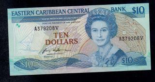 East Caribbean States 10 Dollars (1985 - 93) St.  Vincent Pick 23v1 Au - Unc. photo