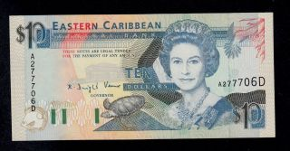 East Caribbean States 10 Dollars (1993) Dominica Pick 27d Au - Unc. photo