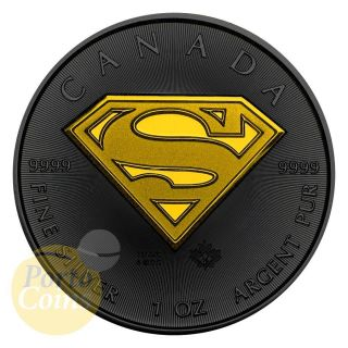 2016 Canada $5 Superman Ruthenium & Gold Box & photo