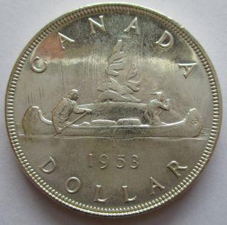Canada 1953 Silver Brilliant Uncirculated No Shoulder Fold Dollar - Ms62 photo