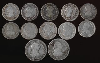 (1773 - 1798) Twelve Mexico Silver 1/2 & 1 Reales Different Dates photo