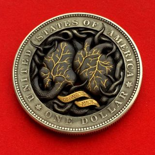 Two - Sides - Carved Hobo Nickel W/gold Inlay photo