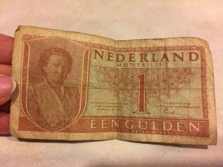 Nederland Muntbiljet 1 Gulden Bank Note 1949 photo