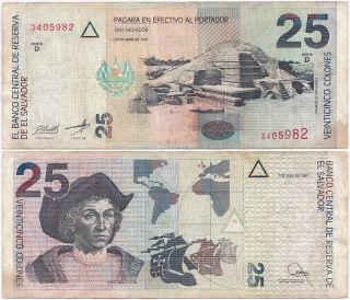 El Salvador,  25 Colones 1997,  Pick 149a,  F/vf photo