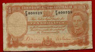 1942 Circulated Australia 10 Shilling Note P - 25a S/h photo
