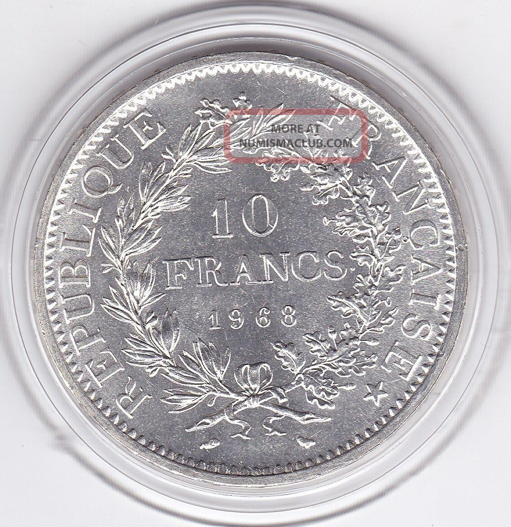 1968 Ten Franc Silver (90) Coin From France France photo