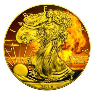 Armageddon Eagles – 2016 American Silver Eagle 1 Oz Coin Color And 24k Gold. photo
