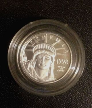 1998 1/10 Platinum Proof American Eagle / Statue Of Liberty Coin photo