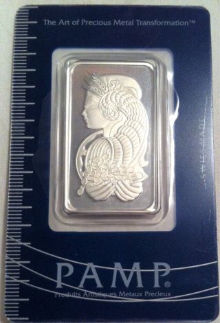 1 Oz Pamp Suisse Platinum Fortuna Bar In Assay photo
