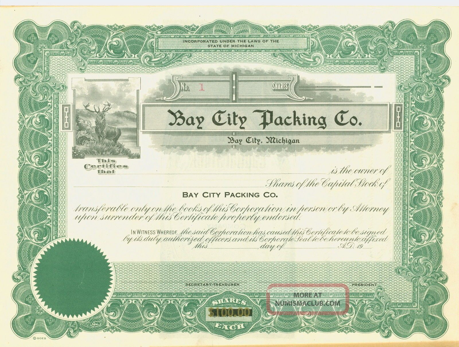 Bay City Packing Co.  Green Stock Certificate Stocks & Bonds, Scripophily photo
