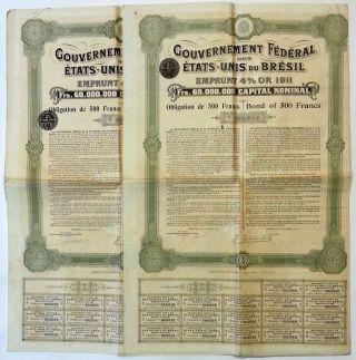 Bresil - Gouvernement Federal Des Etats - Unis Du Bresil Emprunt 4 Or 1911 - X2 photo