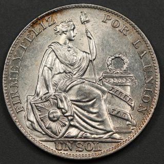 Peru 1935 Limae 1 Sol Silver Coin Choice Bu Km 218.  2 photo