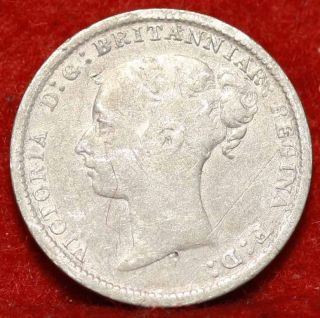 1885 Great Britain 3 Pence Silver Foreign Coin S/h photo