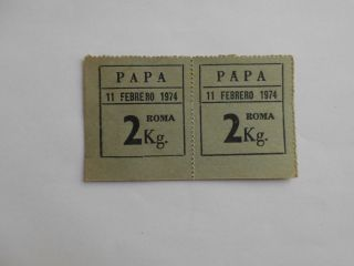 Peru Token Vale Bill Hacienda Roma Ration Coupon Potato 2 Kg.  1974 Grey photo
