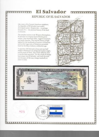El Salvador 1 Colon 1977 P 125a Gem Unc W/fdi Un Flag Stamp Serie Tq photo