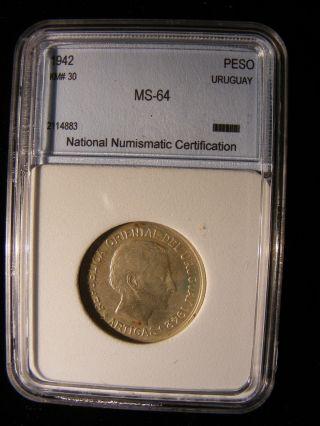 Uruguay Silver 1 Peso,  1942,  Xf photo