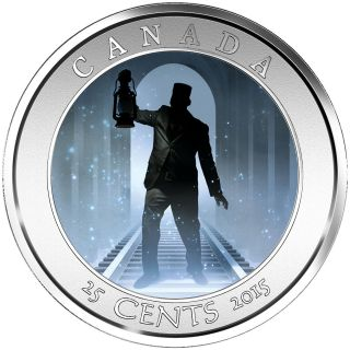 2015 Haunted Canada 2 Headless Brakeman 25 Cents Crown Size Lenticular Quarter photo