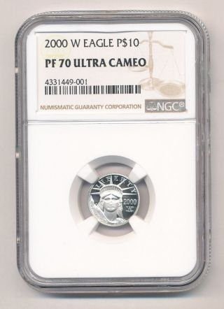 2000 - W $10 American Platinum Eagle Ngc Pf70 Ultra Cameo photo