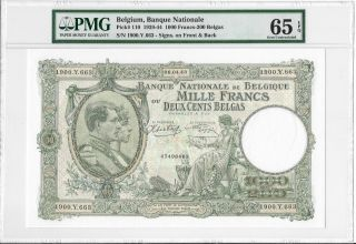 Belgium,  Banque Nationale - 1000 Francs - 200 Belgas,  1943.  Pmg 65epq. photo