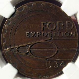 1934 Ford Exposition Token - Hk466 - Ms62 Ngc - Century Of Progress Medal (1933) photo