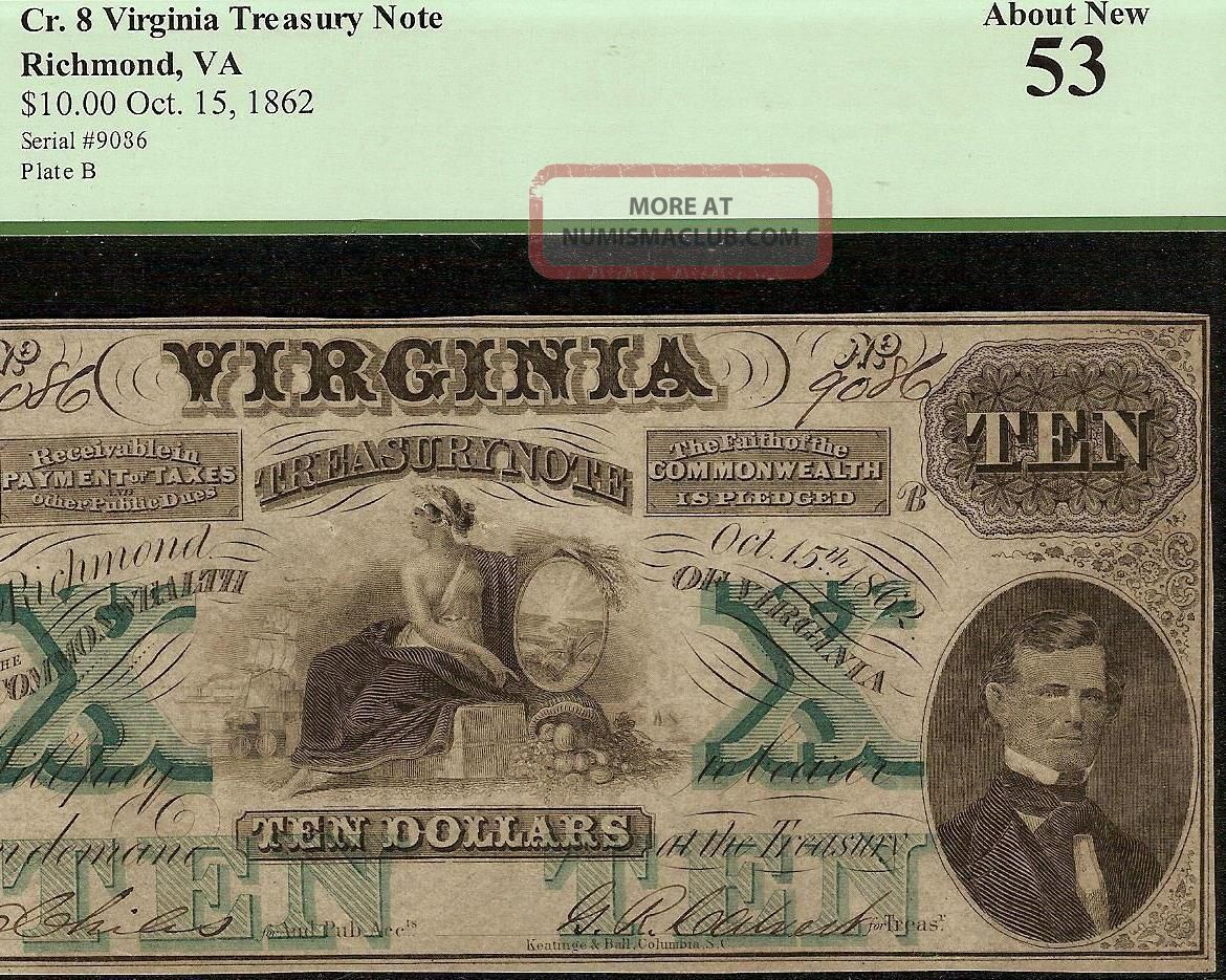 Large 1862 $10 Dollar Bill Virginia Treasury Note Civil War Currency Money Pcgs Paper Money: US photo
