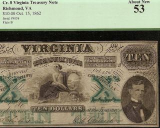 Large 1862 $10 Dollar Bill Virginia Treasury Note Civil War Currency Money Pcgs photo