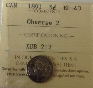 Canada 5 Cents 1891 Ef - 40 photo