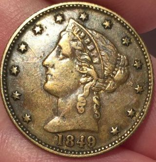 1849 California Gold Rush Miner Token Reeded Edge Exc. photo