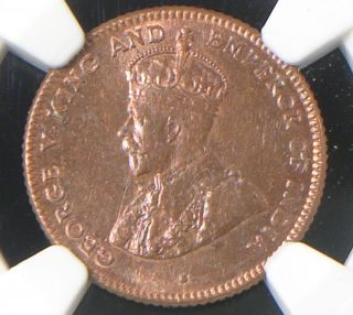 Straits Settlements 1916 1/4 Cent Ngc Ms - 64 Rb Malaysia Scarce This photo