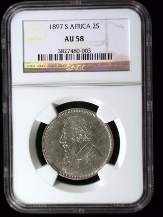 South Africa Zar 1897 2 Shillings Ngc Au - 58 Scarce Boer War Issue Looks Great photo