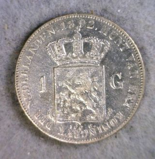 Netherlands 1 Gulden 1892 Extra Fine Silver (stock 0253) photo