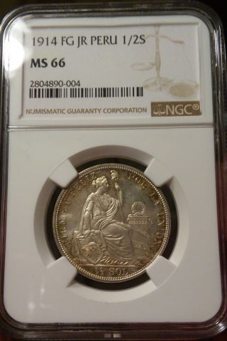 Finest Graded 1914 1/2 Sol Peru Ngc Ms 66 photo