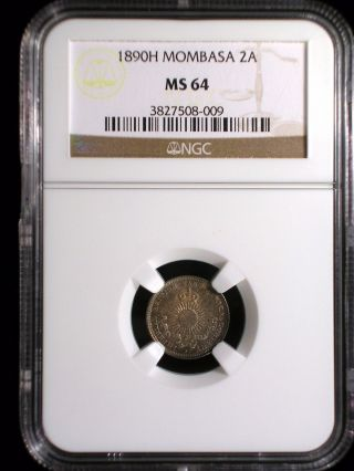 Mombasa Kenya 1890 2 Annas Ngc Ms - 64 British East Africa Color Toned Beauty photo
