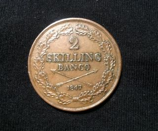 Sweden 2 Skilling Banco 1847 photo