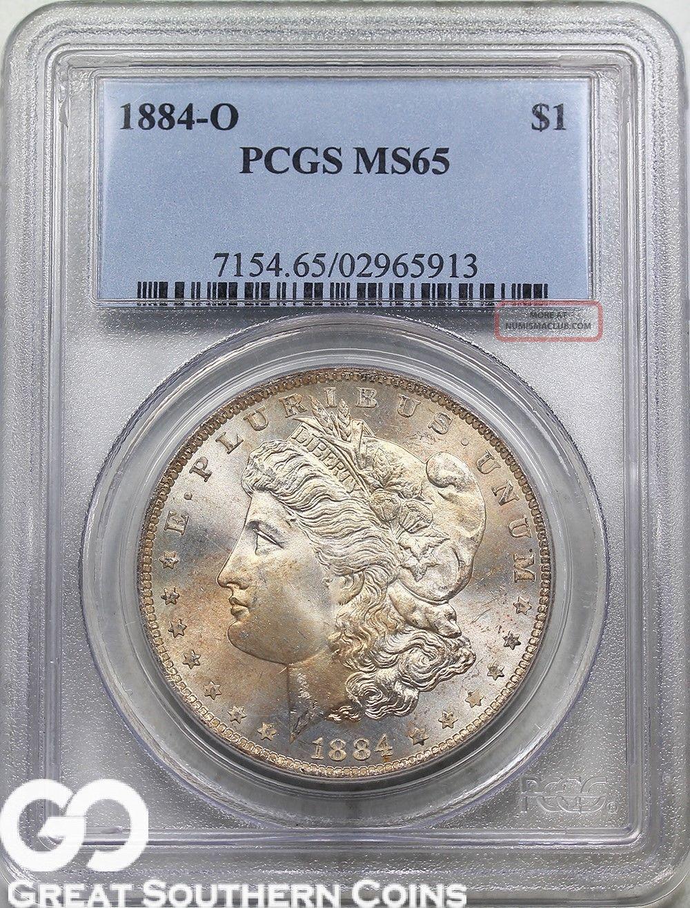 1884 - O Pcgs Morgan Silver Dollar Pcgs Ms 65 Dollars photo
