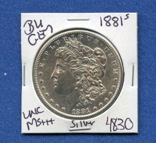1881 S Bu Gem Morgan Silver Dollar Coin 4830 $unc /ms,  Us Mint$ Rare photo