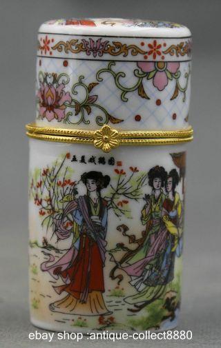 81mm China Colour Porcelain 5 Woman Play Crane Fashion Toothpick Box photo