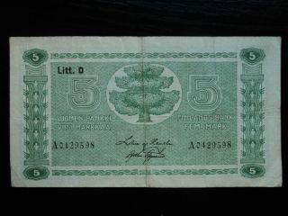 Finland 5 Markkaa 1939,  Circulated Banknote photo