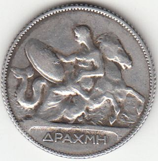 1911 - One Silver Greek Drachma – King George A. photo