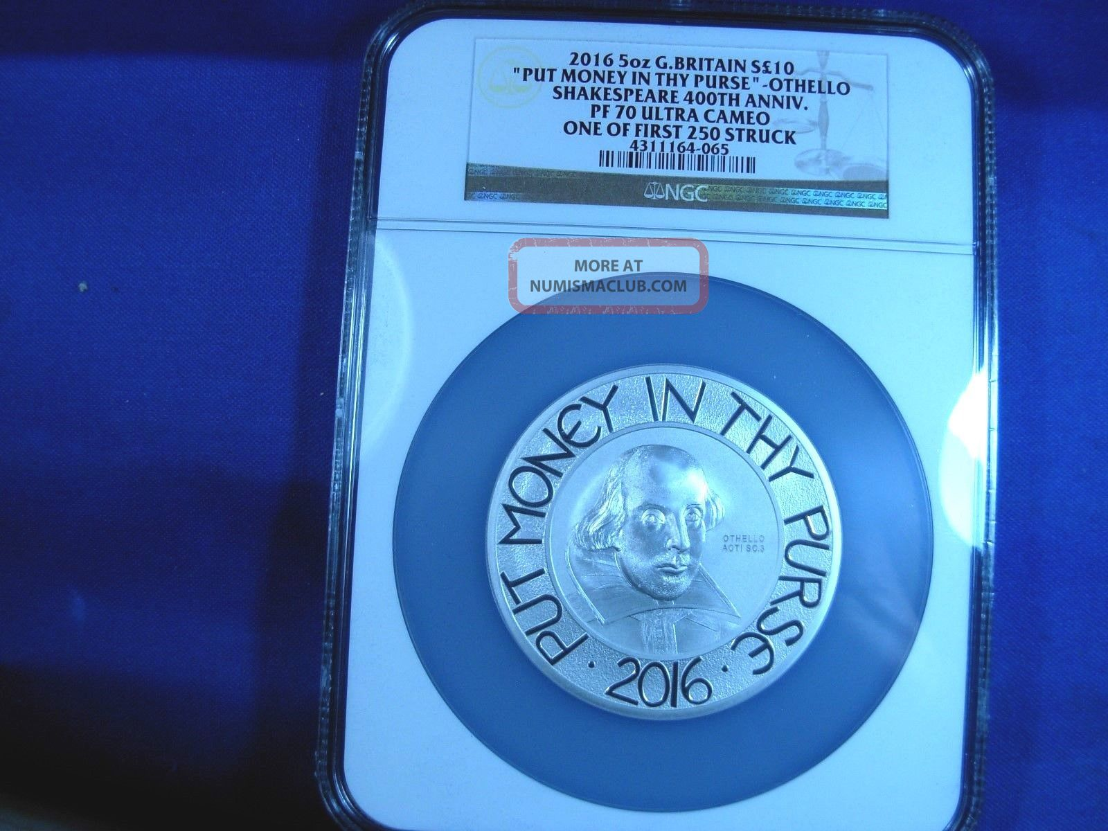 Uk 2016 10gbp 5 - Oz Silver Shakespear Fr Ngc Pf Ouc 39 Of750 1 Of 1st 250 Stuck Coins: World photo
