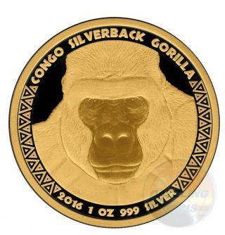 Gold Black Empire Edition Silverback Gorilla 1 Oz.  999 Silver Coin 2016 Congo photo