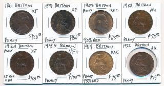 (1861 - 1922) Eight British Pennies Much Better Quality photo