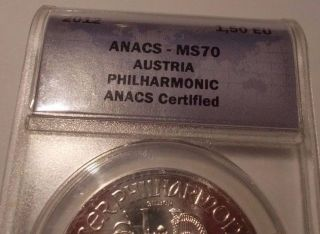 2012 1 Oz Silver Austria Philharmonic Anacs Ms70 1.  50 Eu photo