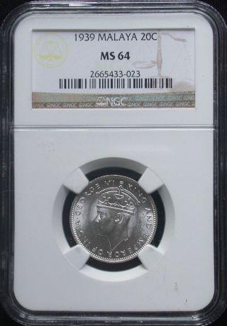 Ngc Ms - 64 Bu 1939 Malaya Silver 20 Cent Unc Uncieculated photo
